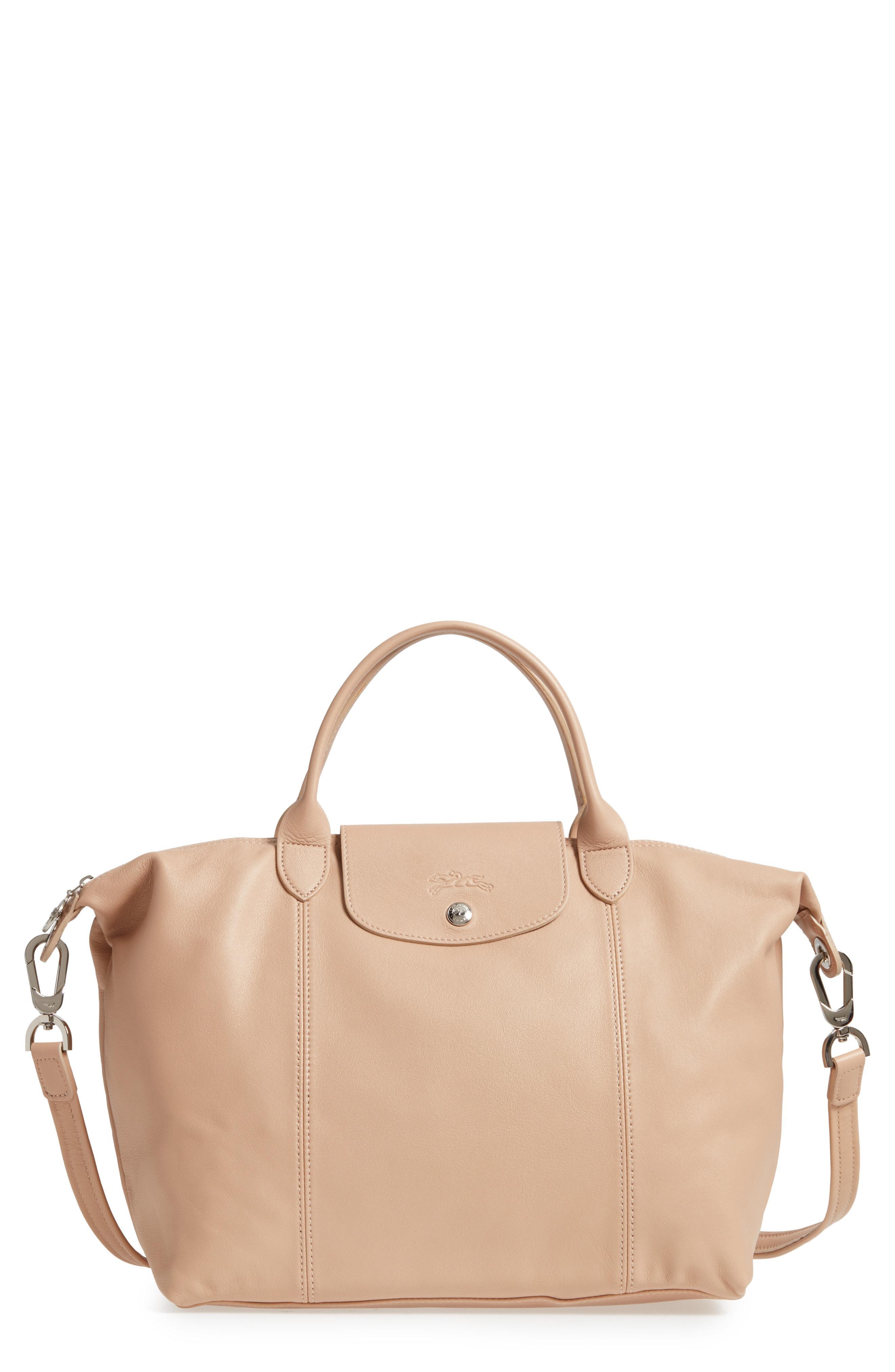 Shop Longchamp Medium 'le Pliage Cuir' Leather Top Handle Tote ...
