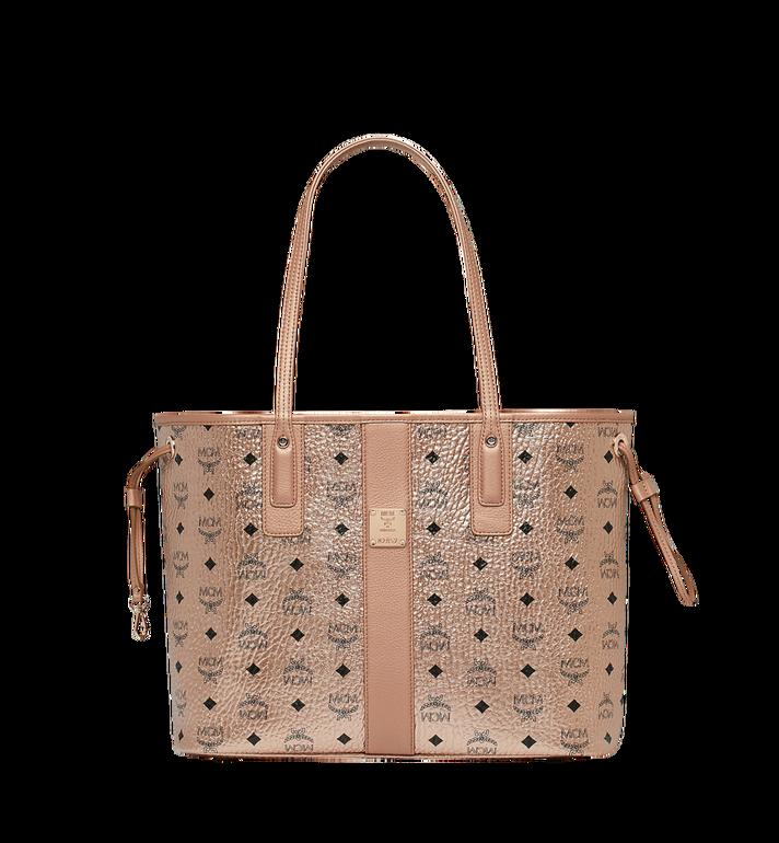 Shop Mcm Reversible Liz Shopper In Visetos In Champagne Gold