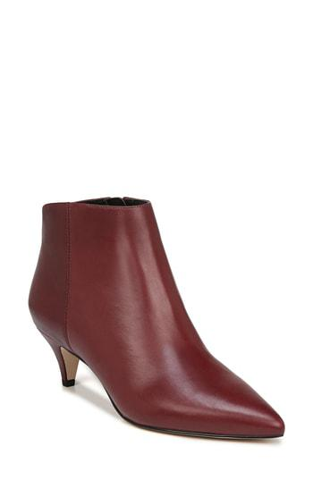 Shop Sam Edelman Kinzey Pointy Toe Bootie In Beet Red Leather