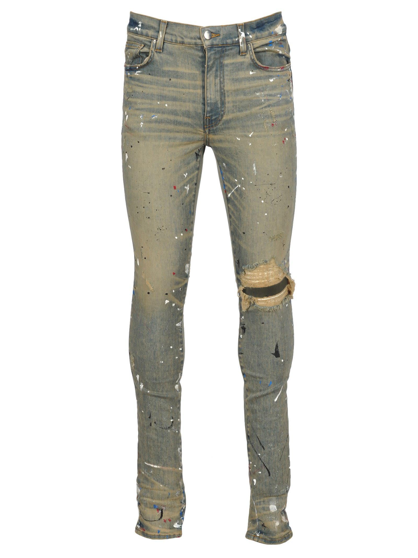 Shop Amiri Artist Broken Jeans In Dirty Indigo