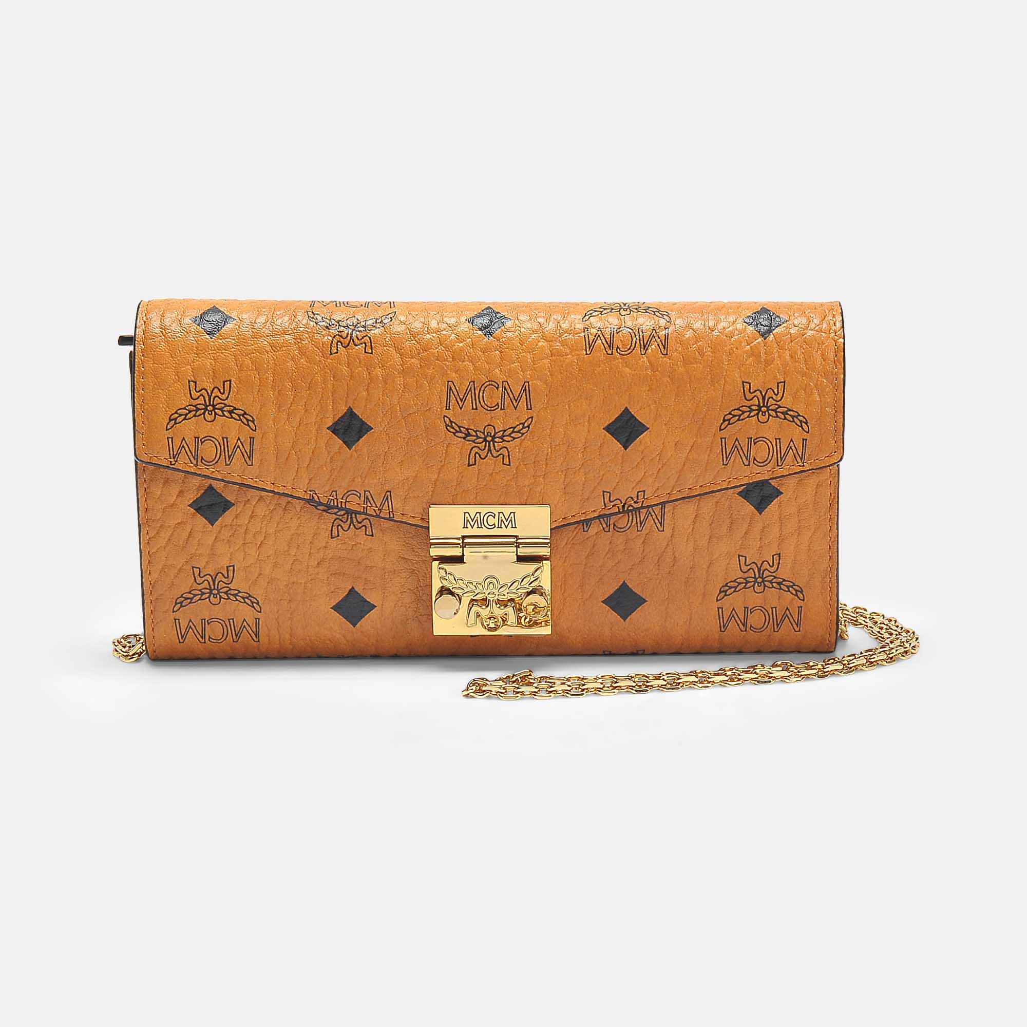 Shop Mcm Large Patricia Visetos Flap Wallet In Cognac Coated