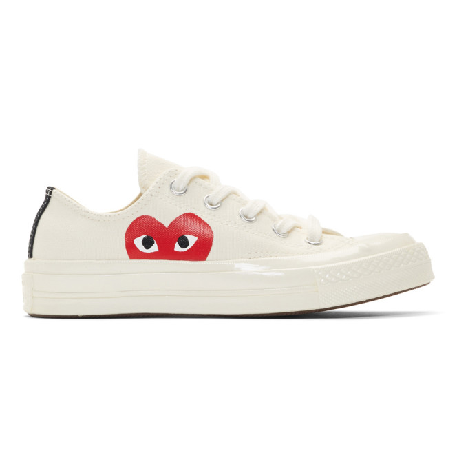 repetición Canal de ultramar  Shop Comme Des Garçons Play Comme Des Garcons Play Off-White Converse  Edition Half Heart Chuck 70 Sneakers In 2 Beige