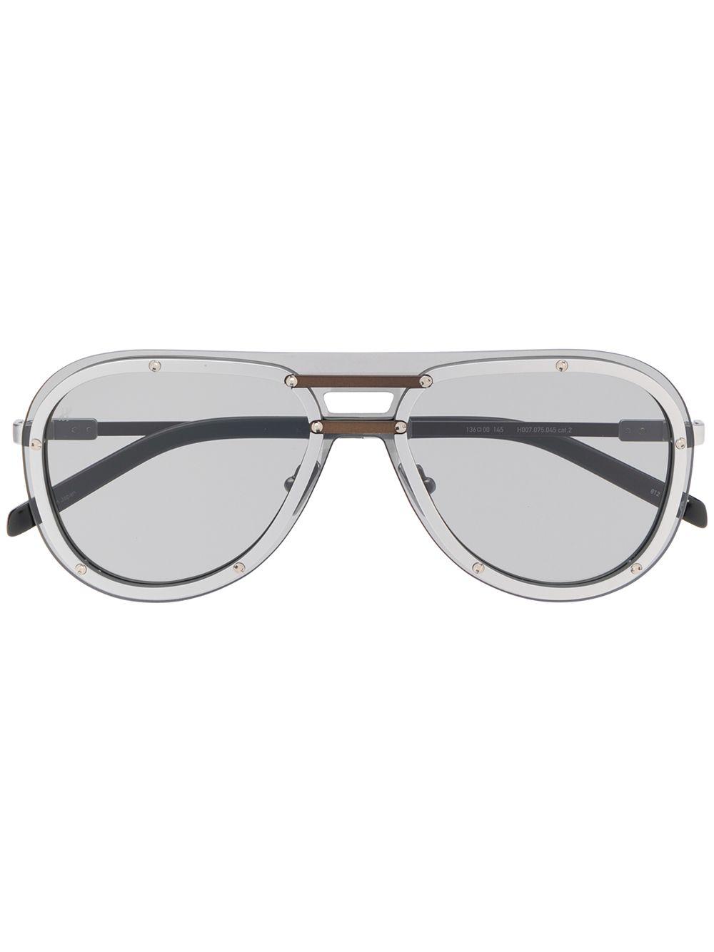 Shop Hublot Eyewear Aviator Frame Sunglasses 银色