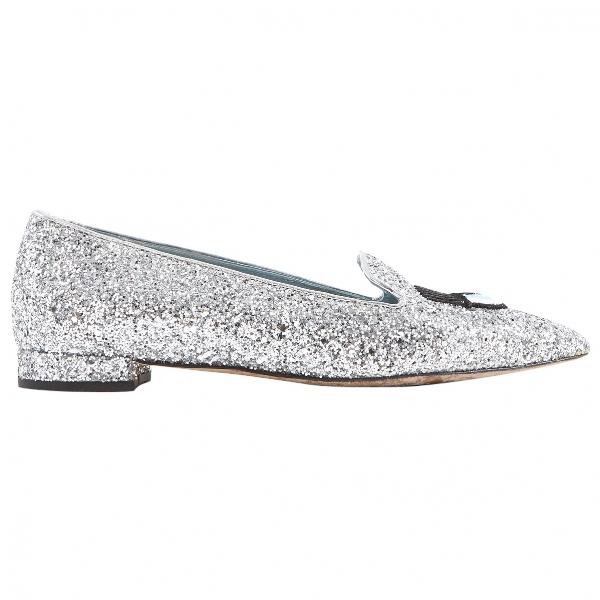 Shop Chiara Ferragni Silver Glitter Flats