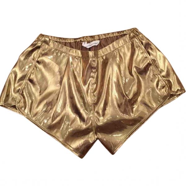 Shop Golden Goose Gold Cotton Shorts