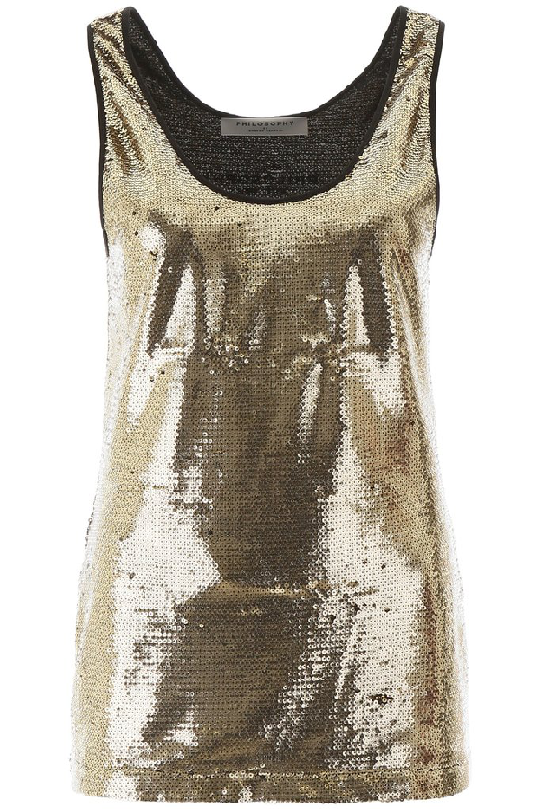 Shop Philosophy Di Lorenzo Serafini Sequined Top In Gold