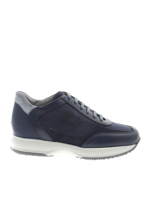 Shop Hogan Interactive H Flock Sneakers In Blue